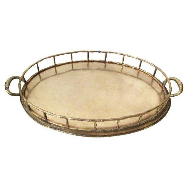 Bamboo Style Gallery Rail Brass Tray - Image 1 of 2