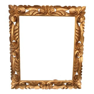 Antique Italian Baroque Hand Carved Gold Leaf Picture Frame For Sale