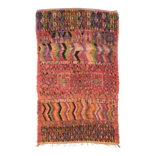 Vintage Moroccan Boujad Rug - 5′5″ × 9′3″ For Sale