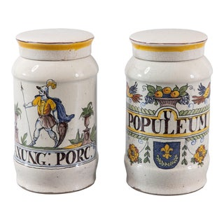 19th Century French Faience Apothecary Jars - Set of 2 For Sale