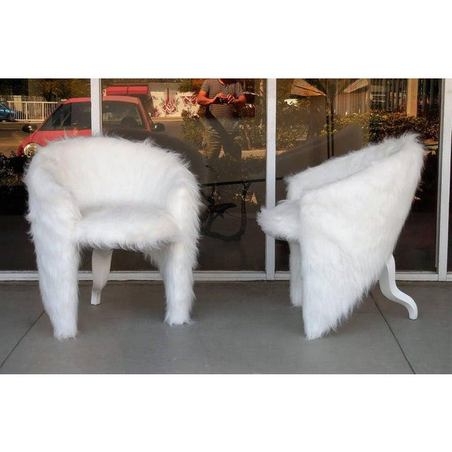 White Pair of White Surreal Faux Fur Lounge Chairs For Sale - Image 8 of 8