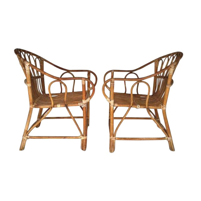 Mid Century Modern Bamboo Chairs Sculpted Bent Bamboo Franco Albini Style - a Pair For Sale