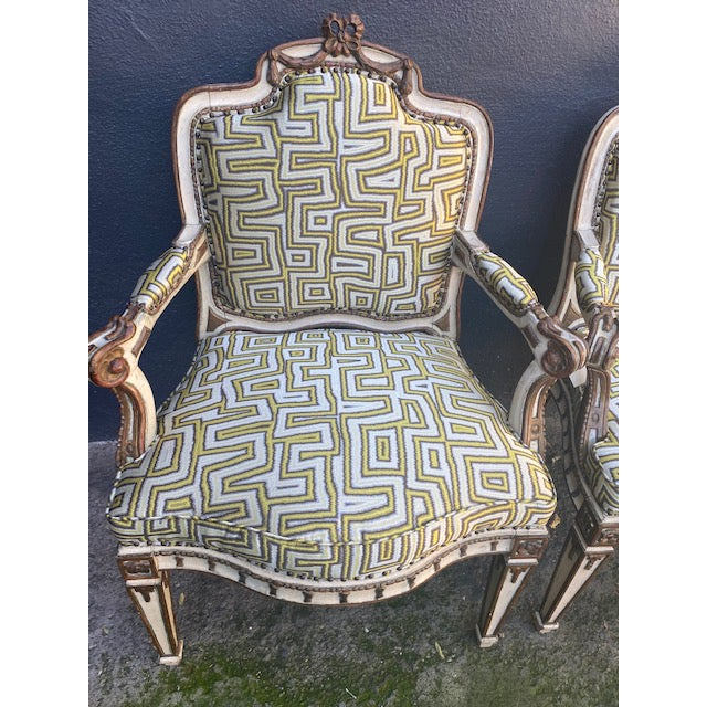 Late 19th Century Early 19th C. Italian Painted Carved Arm Chairs- A Pair For Sale - Image 5 of 12