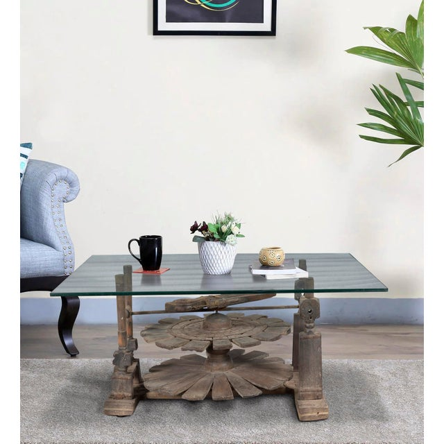 Vintage Charkha Wooden Coffee Table For Sale - Image 4 of 4