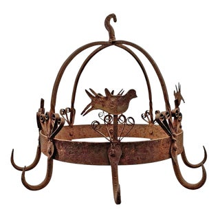 19th Century English Wrought Iron Dutch Crown Game Rack For Sale