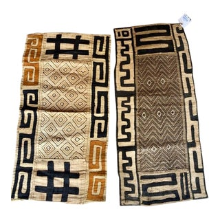 African Kuba Cloth Textile Panels - a Pair For Sale