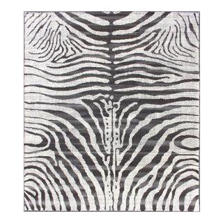 Black and White Zebra Design Distressed Modern Rug For Sale