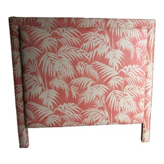 Custom Coral and Cream Bamboo Leaf Upholstered Queen Headboard For Sale