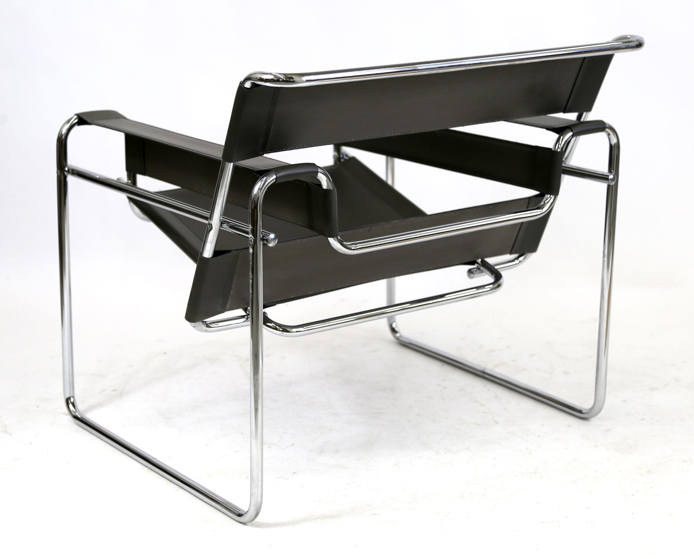 Reproduction Wassily Chair Marcel Breuer Black Leather And Chrome Tube  Frame   Image 7 Of 9