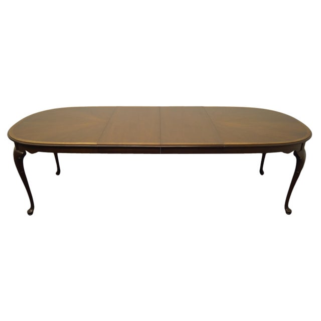 Late 20th Century Statton Furniture Banded Mahogany Dining Table For Sale - Image 5 of 11