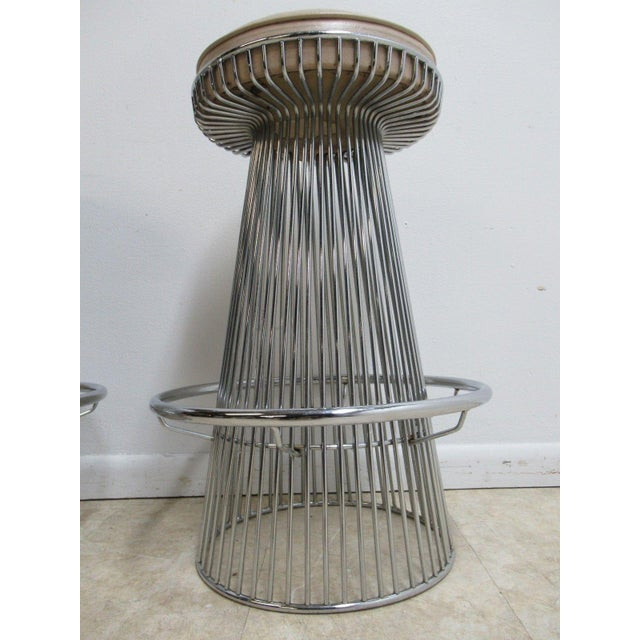 Vintage Chrome Wire Cone Bar Stools - A Pair - Image 7 of 11