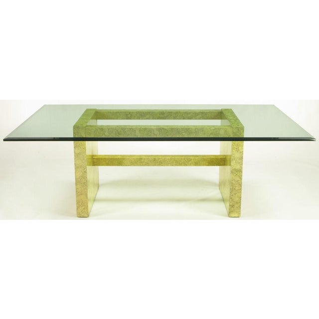 """Marbleized lacquer finish dining table with chunky wood stretchers and blocked wood panel legs by Henredon from the """"Circa..."""