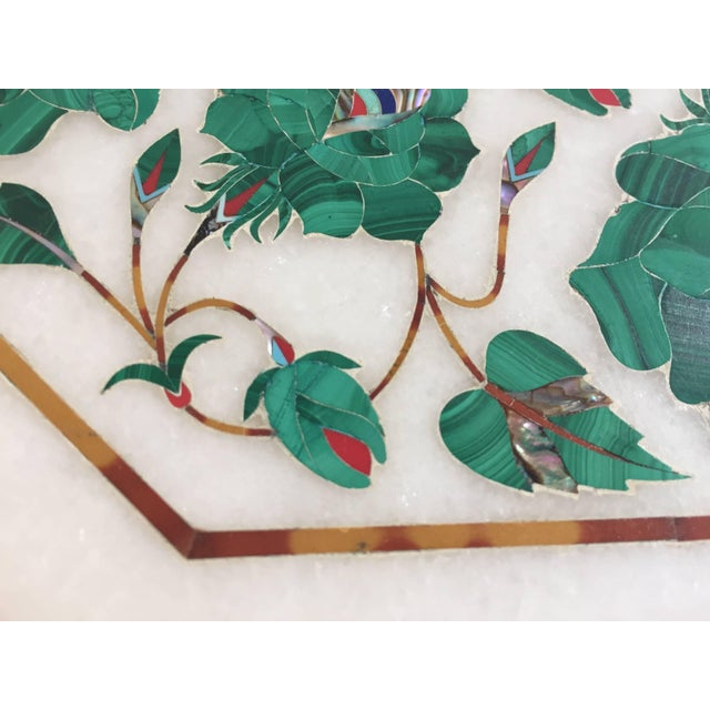 Pietra Dura Marble-Topped Octagonal Table Inlaid in Taj Mahal Anglo Raj Style For Sale - Image 9 of 13
