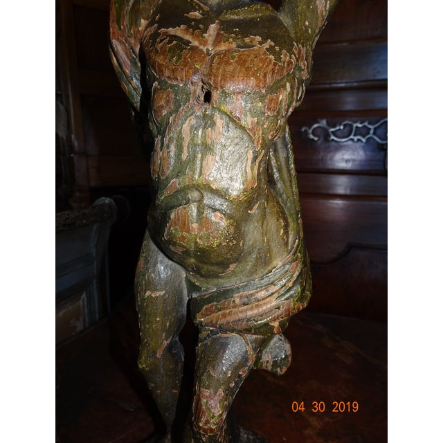Italian Carved Wood Statue For Sale In New Orleans - Image 6 of 11