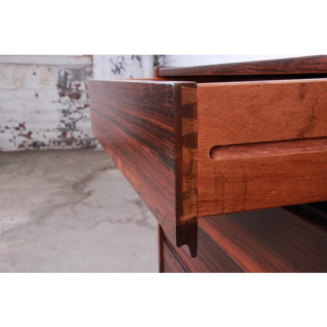 Danish Modern Rosewood Bachelor Chests or Large Nightstands, Newly Restored For Sale - Image 10 of 13