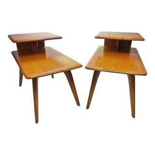 Mid Century Modern Heywood Wakefield Wood Step Tables - A Pair