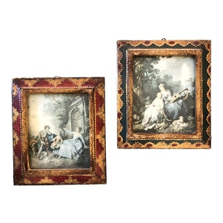 Vintage Miniature Venetian Framed Classical Prints a Pair For Sale