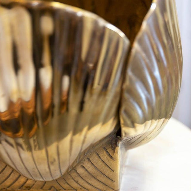 Mid-Century Modern Mid 20th Century Vintage Brass Shell Vase For Sale - Image 3 of 4