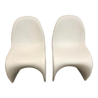 White Verner Panton Chairs - A Pair