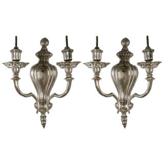 Pair of Caldwell Silver Plated Sconces, Circa 1920s For Sale