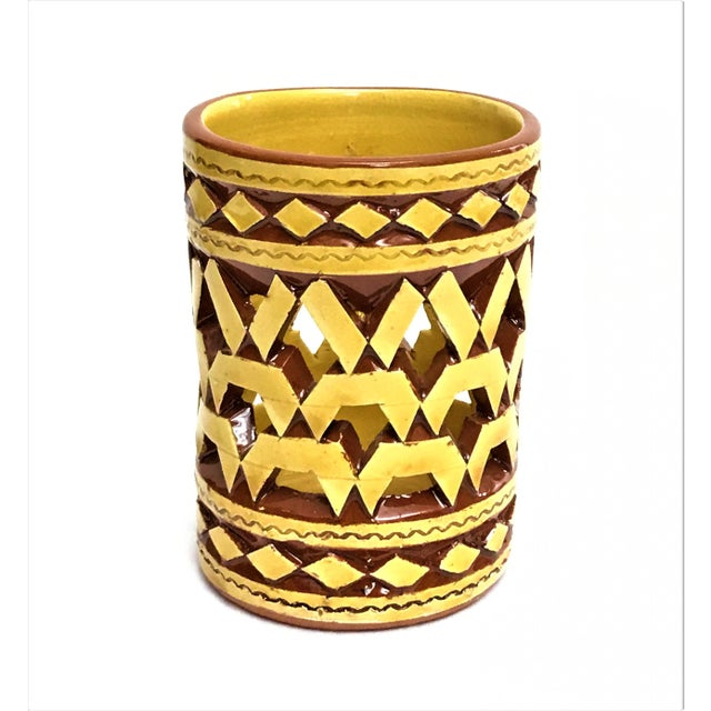 Boho Chic Moroccan Handpainted Yellow Ceramic Tealight Cup Holder For Sale - Image 3 of 3