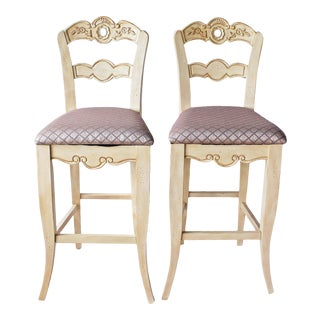 Vintage French Style Bar Chair Stools - a Pair For Sale