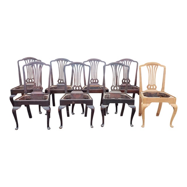 Set 8 Antique Mahogany Sheraton Style Dining Chairs ~ as Is Where Is ~  Ready for Paint or Refinish - Set 8 Antique Mahogany Sheraton Style Dining Chairs ~ As Is Where Is