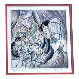 1930's Deco Miley Possez Original Colored Etching Framed For Sale