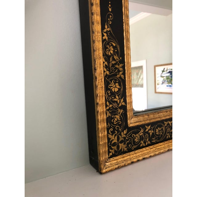 Hollywood Regency Magnificent Large Black and Gold Regency Style Mirror For Sale - Image 3 of 10