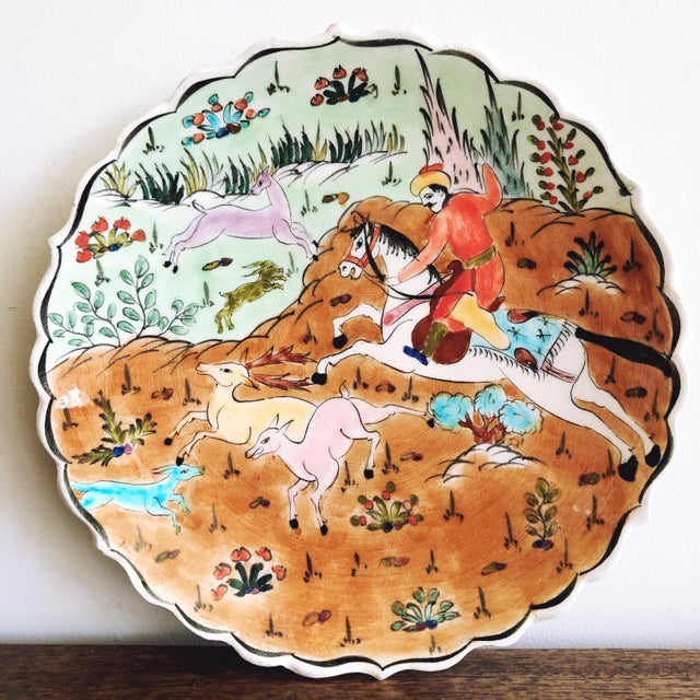 1950s Vintage Turkish Ottoman Scene Ceramic Hand-Painted Plate From Kutahya For Sale - Image 5 of 5