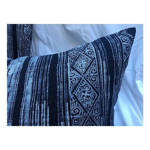 Indigo Linen Batik Pillows - A Pair - Image 4 of 5