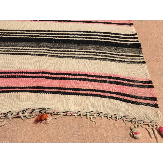 Textile Vintage Moroccan Flat-Weave Stripe Tribal Rug For Sale - Image 7 of 10