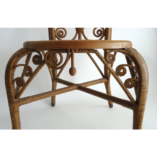 Tan Late 19th Century Vintage Heywood Wakefield Victorian Wicker Photographer's Chair For Sale - Image 8 of 12