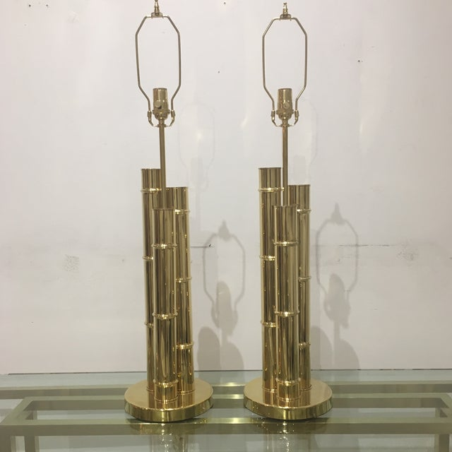 1960s Italian Brass Faux Bamboo Lamps - a Pair For Sale - Image 10 of 11