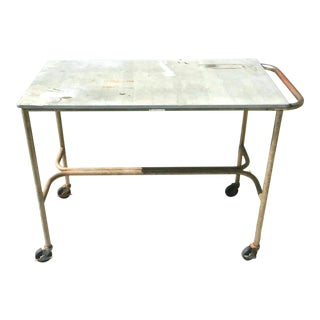 1970s Vintage Slate Top Industrial Cart