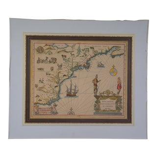 17th Century (1630) Nova Anglia Colored Map Engraving For Sale