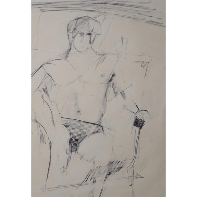 Larry Rivers (1923-2002) Modernist Male Figure Original Charcoal Mid 20th C. Rare charcoal portrait by American modernist...