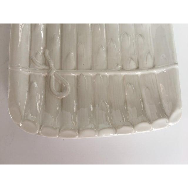 Ceramic Large - White on White Glazed Asparagus Platter Made in Portugal For Sale - Image 7 of 11