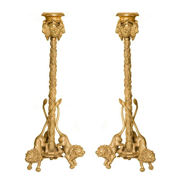 Pair Renaissance-Style Gilt Bronze Candlesticks For Sale In Los Angeles - Image 6 of 6