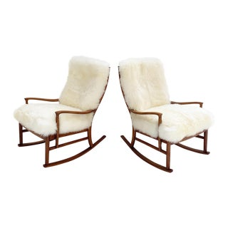 Parker Knoll Rocking Chairs With New Zealand Sheepskin Cushions - a Pair For Sale