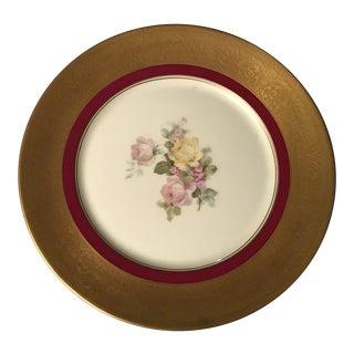 Vintage 18K Gold and Red Trim Floral Bohemia Encrusted Floral Dinner Plate For Sale