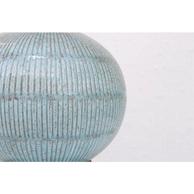 Coastal Vintage Blue Ceramic Lamp For Sale - Image 3 of 7