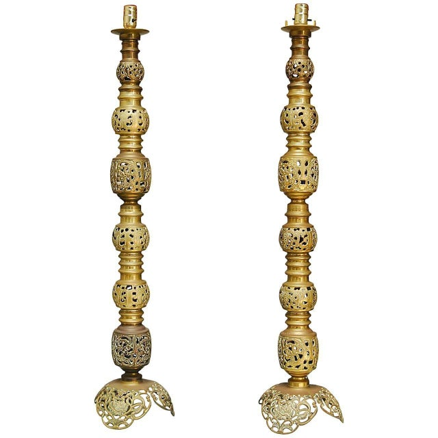 Chinese brass candlestick floor lamps a pair chairish chinese brass candlestick floor lamps a pair aloadofball Image collections