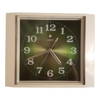 Vintage Quartz Clock With Green Face
