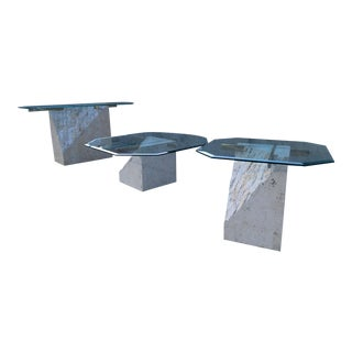 Maitland-Smith Style Tessellated Stone Brass & Glass Pedestal Tables - 3 Piece Set For Sale