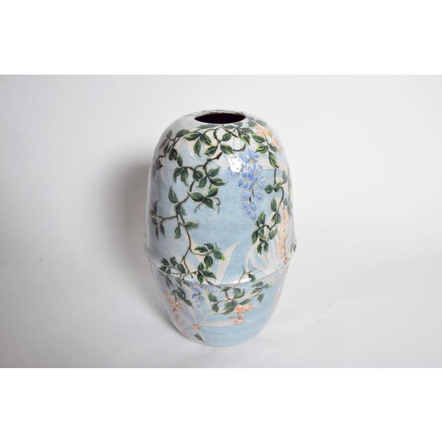 Newly-made ceramic vase from Thailand. The design is hand painted. Two jardinière-shaped halves are joined together...