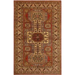 Super Kazak Garish Duane Red/Tan Wool Rug - 4'1 X 5'10 For Sale