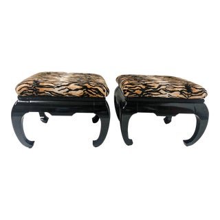 Springer Style Asian Modern Ottomans, Pair
