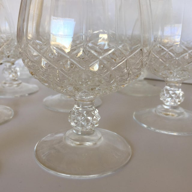 1970s Diamond Faceted Brandy Snifter Glasses by Cristal d'Arques - Set of 10 For Sale - Image 5 of 8