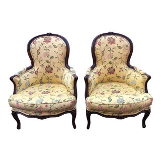 French Floral Louis XV Style Bergere Chairs - a Pair For Sale
